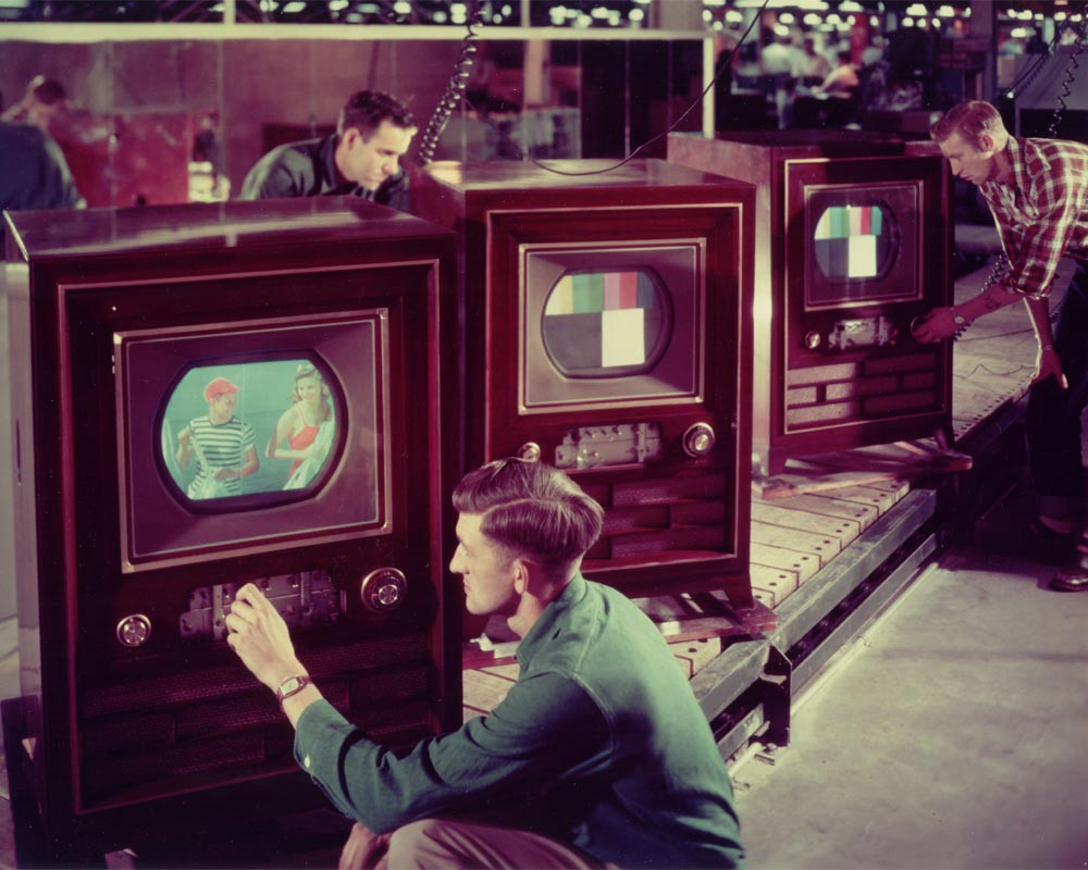 The first colour television sets